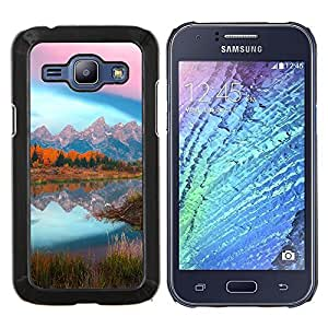 Qstar Arte & diseño plástico duro Fundas Cover Cubre Hard Case Cover para Samsung Galaxy J1 J100 (Mountain Lake Glow)