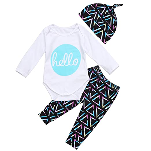 "5f627f0bdad8 3Pcs/Set Baby Boy Girl ""Hello"" Rompers+Colorful Triangle Pants+"