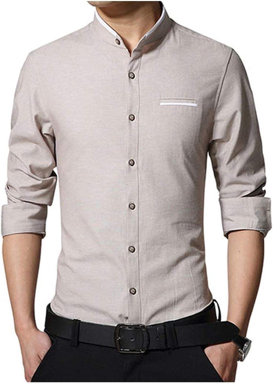 Casual Men Shirt Long Sleeve Mandarin Collar Slim Fit Shirt Men