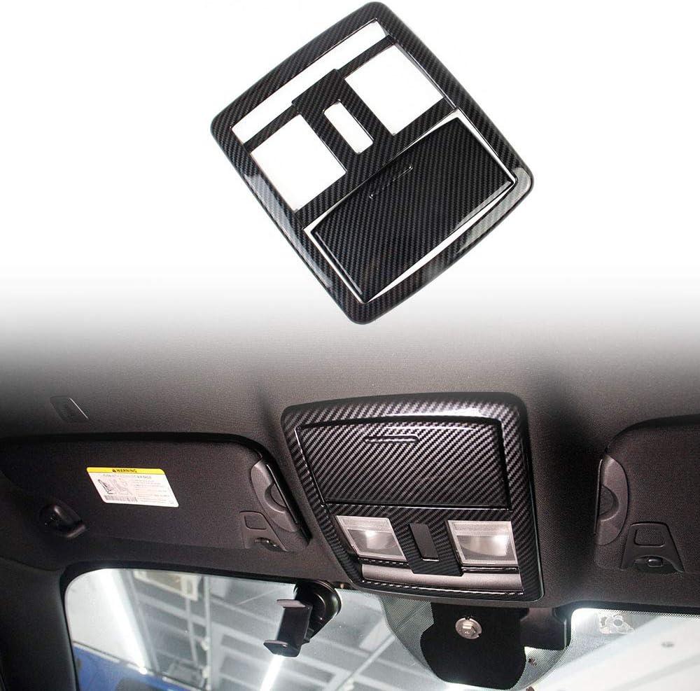 Jstotrim Carbon Fiber Roof Reading Light Lamp Cover Trim Kit for Dodge Challenger 2015+