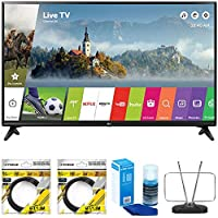 LG 49 Class Full HD 1080p Smart LED TV 2017 Model (LG49LJ5500) with 2x 6ft High Speed HDMI Cable Black, Universal Screen Cleaner for LED TVs & Durable HDTV and FM Antenna