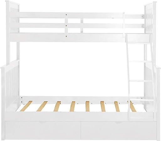 DASEXY Cabecera Litera Doble sobre Escalera con escaleras y Dos cajones de Almacenamiento: Amazon.es: Hogar