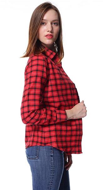 Dioufond Camisas Mujer Cuadros Rojos Manga Larga Camisas Mujer de Vestir Fiesta Atractivo(Rojo ES34