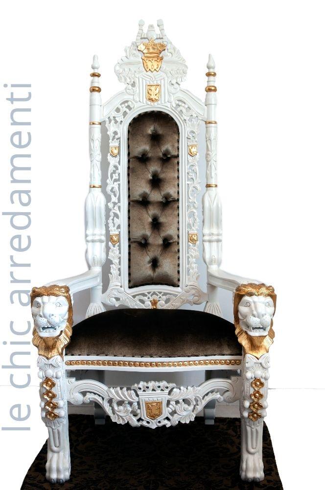 Thron im Barock Stil King Chair Rokoko Stil aus Massivholz