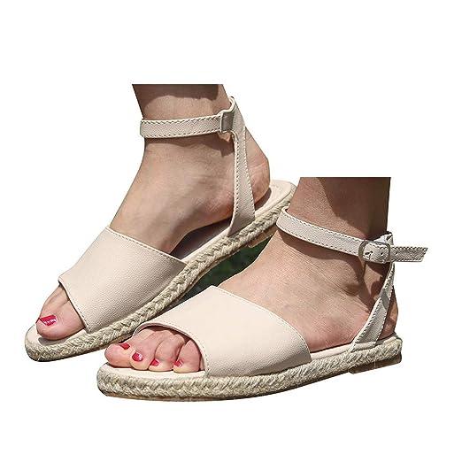 40e0220a8bf3e Amazon.com: Veodhekai Womens Flats Sandals Buckle Strap Roman Shoes ...