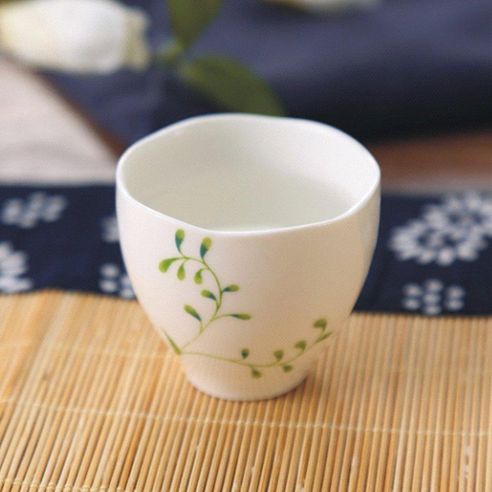 Hotoco 5 Piece Ceramic White Traditional Japanese Sake Set with Flower Design