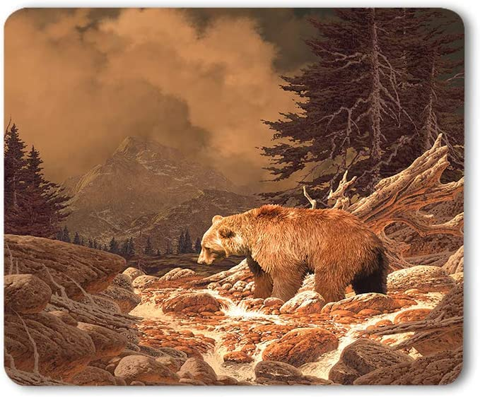 Moslion Grizzly Bear Mouse Pad Rocky Mountains Wildlife Animal Canyon Forest Nature Outdoors Gaming Mouse Mat Non-Slip Rubber Base Thick Mousepad for Laptop Computer PC 9.5x7.9 Inch