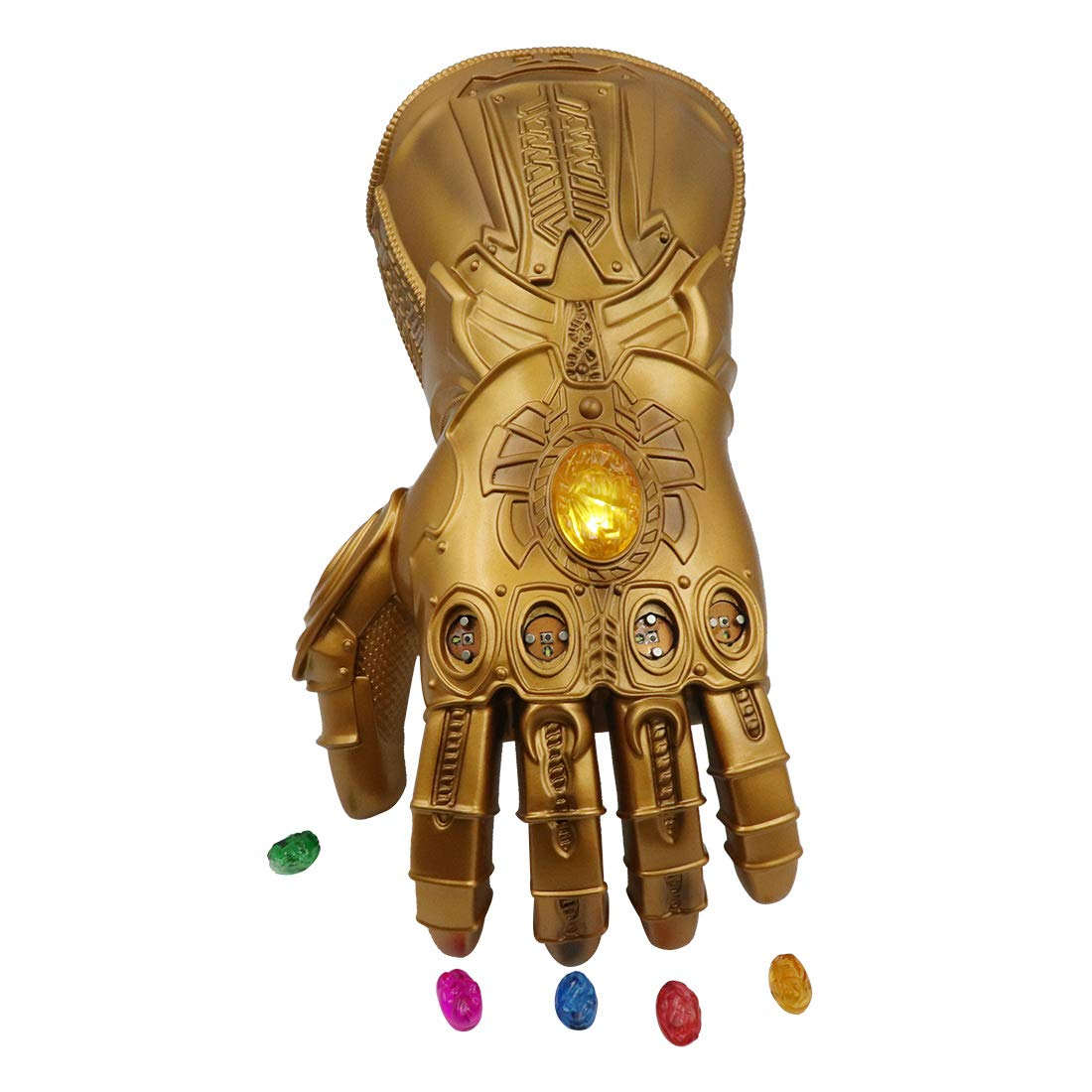 Bulex New Version Infinity Gauntlet LED Light PVC Thanos Gloves for Halloween Props (LED Gems Separable, Adult)