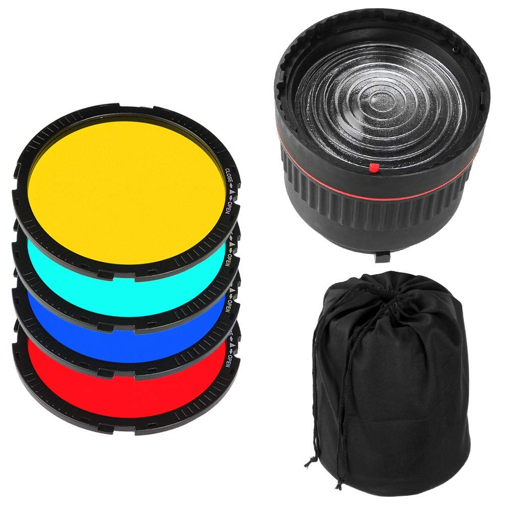 Runshuangyu Bowens Mount 10X Brighter Light Focus Lens for Studio Flash /& LED Light Lamp with 4 Color Filters
