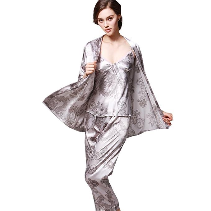 WTUS Albornoz Pijama Camisón Robe Bata Ropa de Dormir Albornoces de Seda para Mujer,Rojo/Azul: Amazon.es: Ropa y accesorios