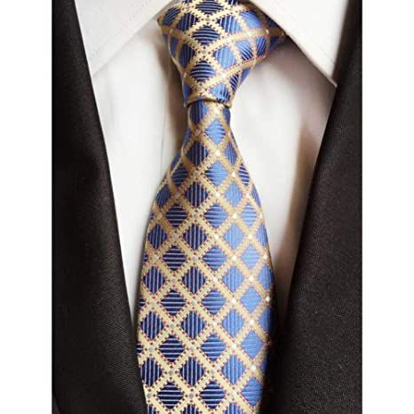 WOXHY Corbata Nuevo Classic 8Cm Checks Corbatas de Seda Azul ...
