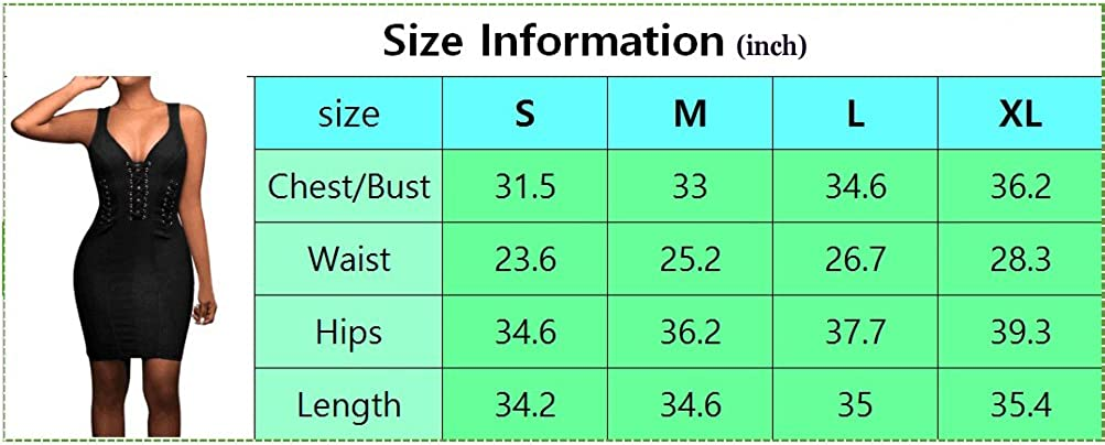 Aierbulu Womens Party Dress V Neck Hollow Out Sleeveless Bodycon Bandage Dresses