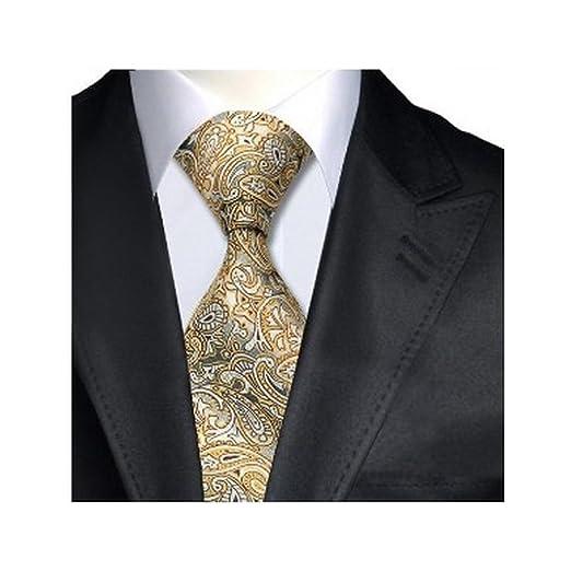 44bca1544cc7 Black Yellow White Paisley Classic Silk Necktie Jacquard Single Ties ...
