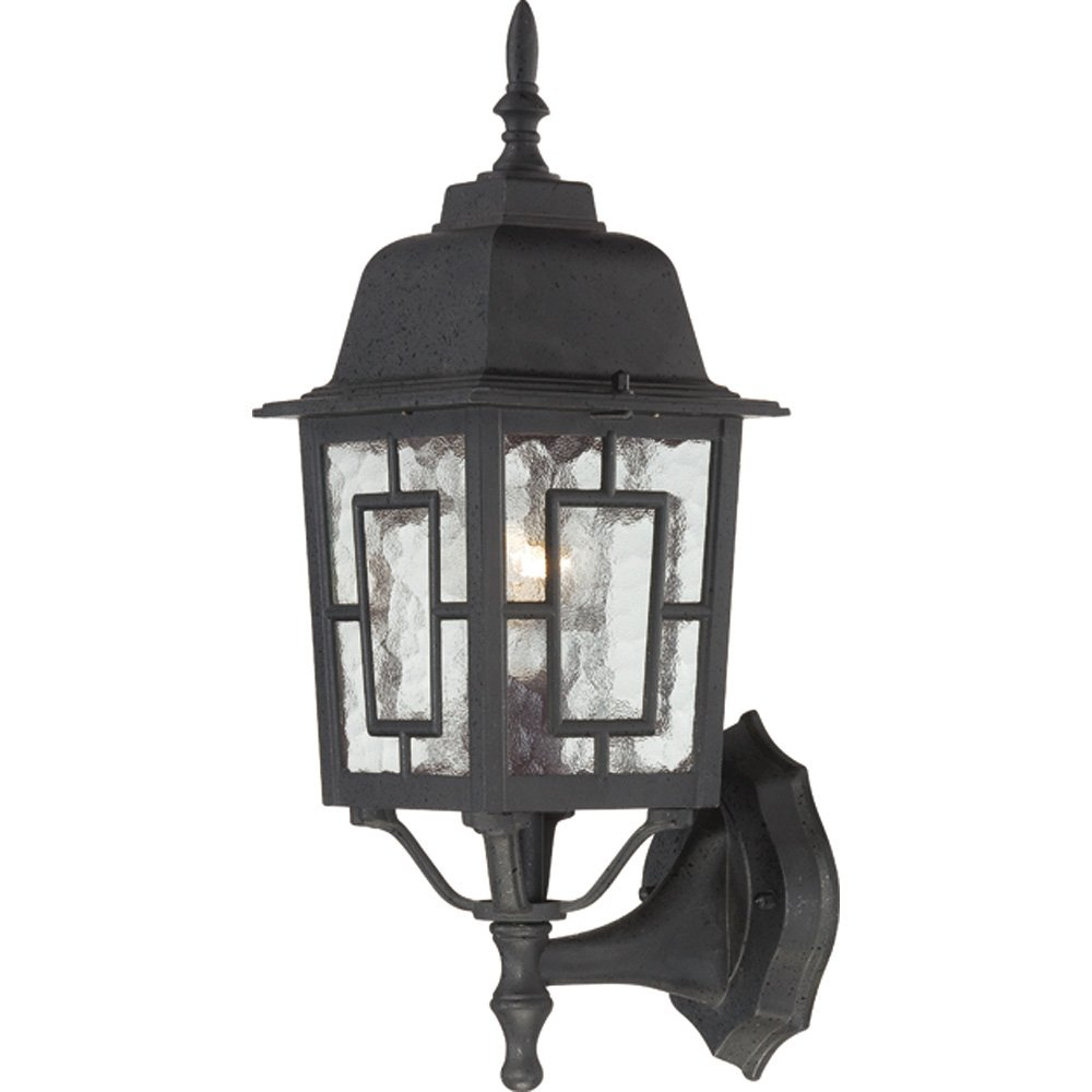 Nuvo Lighting 60/4933 Banyon One Light Hanging Lantern 100-Watt A19 Max Clear Water Glass Textured Black Outdoor Fixture