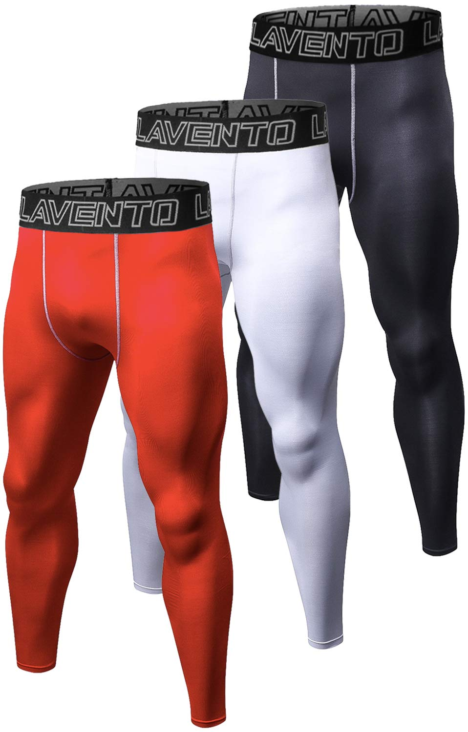 Lavento Men's 3 Pack Compression Running Tights