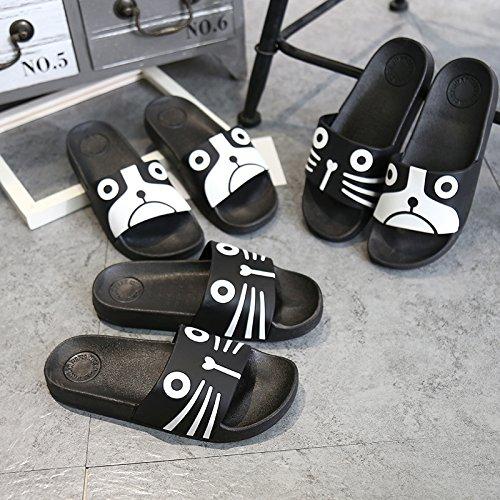 Slipper Cat ZKHOECR Cat Shoes Shower Women's Bathroom Cute Slip Black Sandals House Non g7z6qHBwng