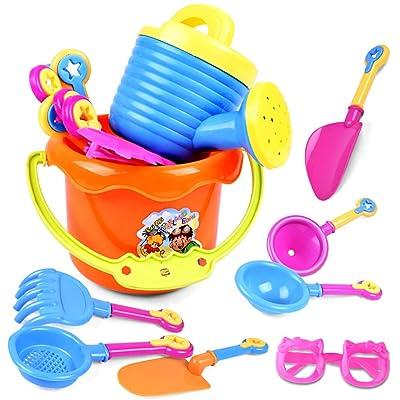 Coxeer Sand Toy Set, 9PCS Beach Sand Toy Set Creative Assorted Sandbox Toy Sandcastle Toy for Kids: Home & Kitchen