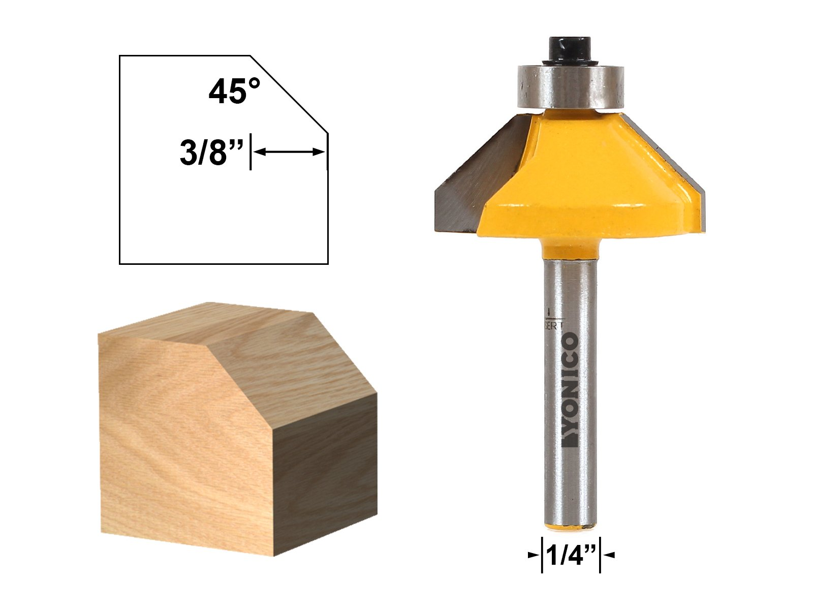 Yonico 13105q 45-degree Chamfer Edge Forming Router Bit with 1/4'' Shank