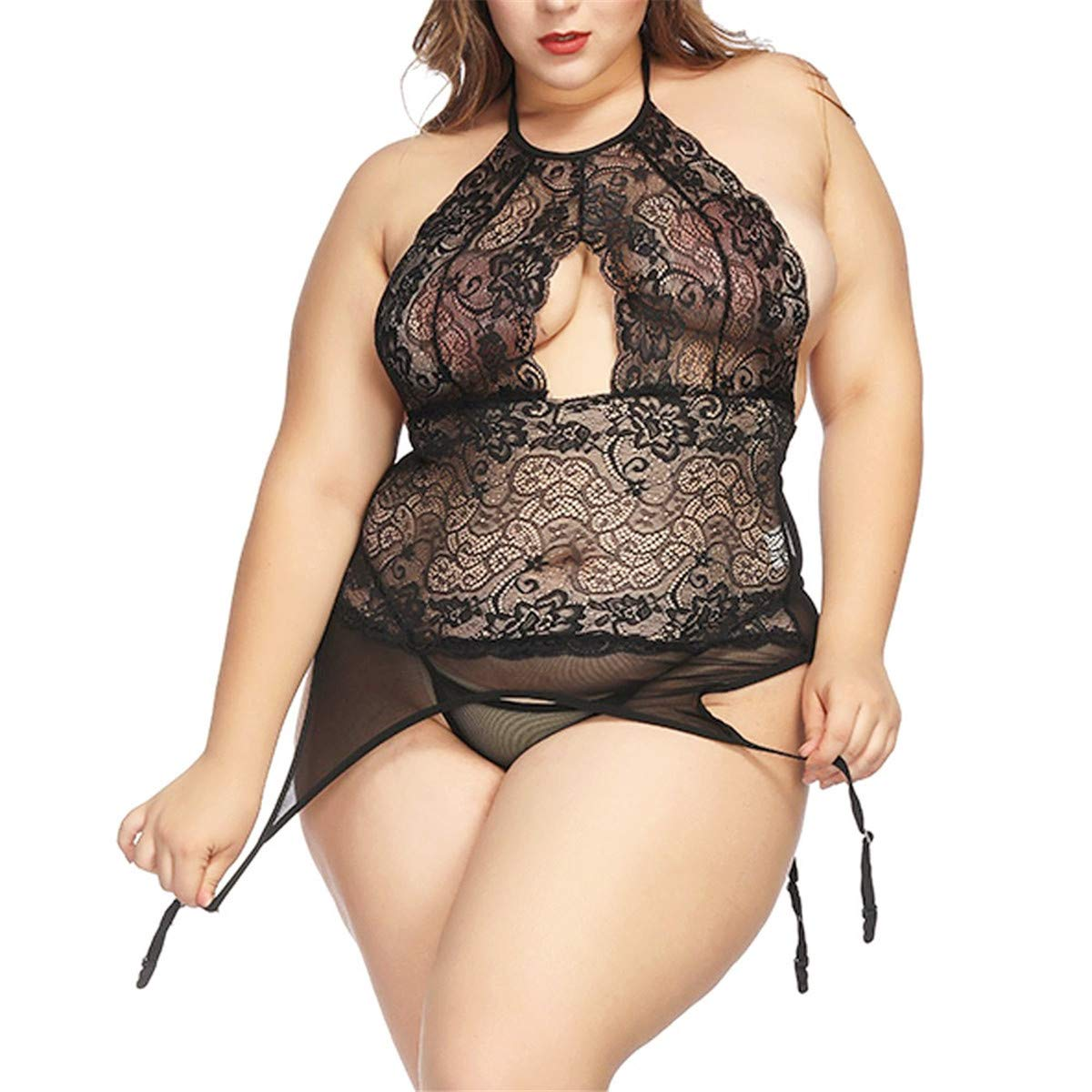 1bc8741312775 Women Red Lace Lingerie See Through Plus Size, Wesracia Halter Black  Lingerie Garter Set With Sheer T Back Thong at Amazon Women's Clothing  store: