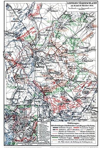 Historische Landkarte: Leipziger Völkerschlacht am 16. und 18. Oktober 1813 (A2 gefaltet auf A4)