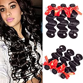 Brazilian Virgin Body Wave Hair 4 Bundles Grade 8A Unprocessed Remy Human Hair Extension Weft Weave Natural Color (20 20 22 22, Natural Color)