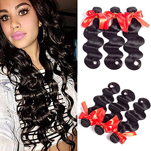Jiaoli Brazilian Human Hair Body Wave 3 bundles 14 16 18 100 Real Virgin Hair Bundles Natural Wavy Weave Human Hair Extension Tangle Free Natural Color (Extension Natural Human Hair)