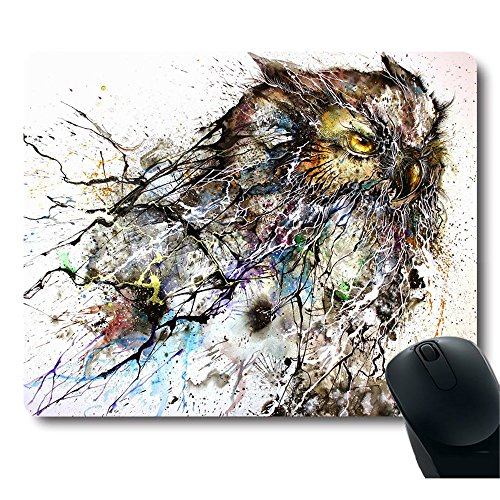 Personalized Abstract Haboku Splash-Ink Night Owl Art Computer Gaming Mouse Pad (Mouse Owl And)