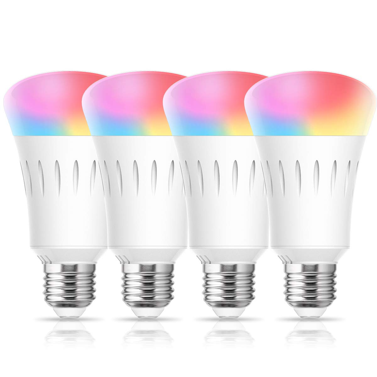 Smart LED WiFi Light Bubs, LOHAS LED Daylight RGB A19 Bulb Color Changing 60W Equivalent, Dimmable LED Lights Works with Alexa, Google Home and Siri (No Hub Required) 810LM E26 Base, UL Listed, 4 Pack