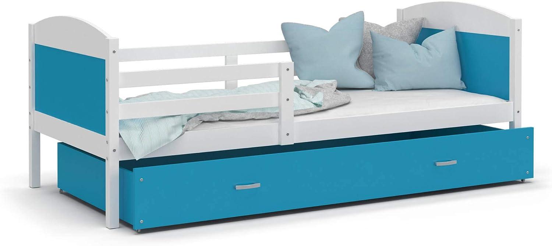 LIT Enfant Mateo 90x190 blanc-bleu livré avec sommier, tiroir et matelas de 7cm OFFERT.