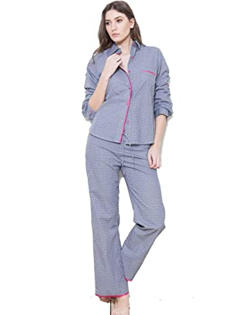 50-70%off special for shoe cheapest Ladies Boyfriend Style Navy Blue Cotton Pyjama Pajama Set ...