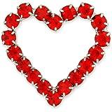 PinMart's Red Rhinestone Heart Valentine's Day Brooch Pin