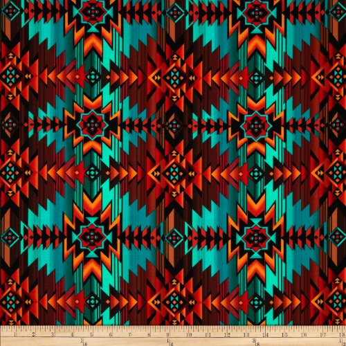 Timeless Treasures Southwest Blanket Turquoise Fabric by The Yard, Turq ()