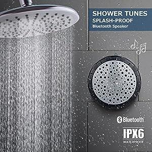 Splashproof Shower Speaker Outdoor Wireless Portable Waterproof IPX6 Bluetooth Speaker With Suction Cup and Hanging Loop -Black