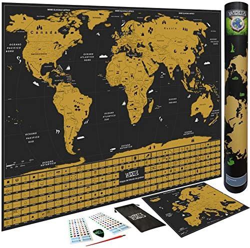 WIDETA Mapa del mundo para rascar en italiano con banderas de los países/póster XL (60 x 42 cm), pegatinas, chip y bolígrafo para raspar/oro y negro: Amazon.es: Oficina y papelería