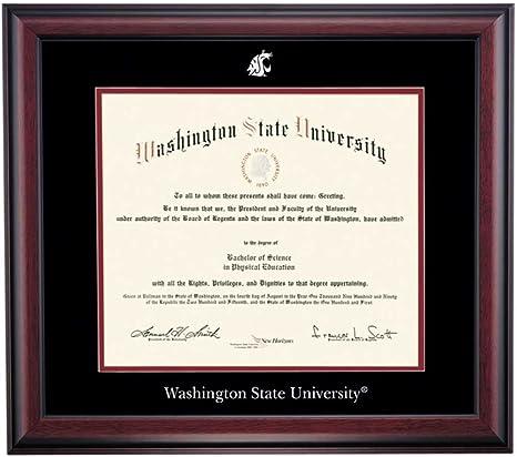 Amazon Com Ocm Diploma Frames Washington State University Cougar Displays Diploma Certificate 11 X 14 Black Maroon Mat Home Office Office Professional Education Framed Diploma Graduation Gifts