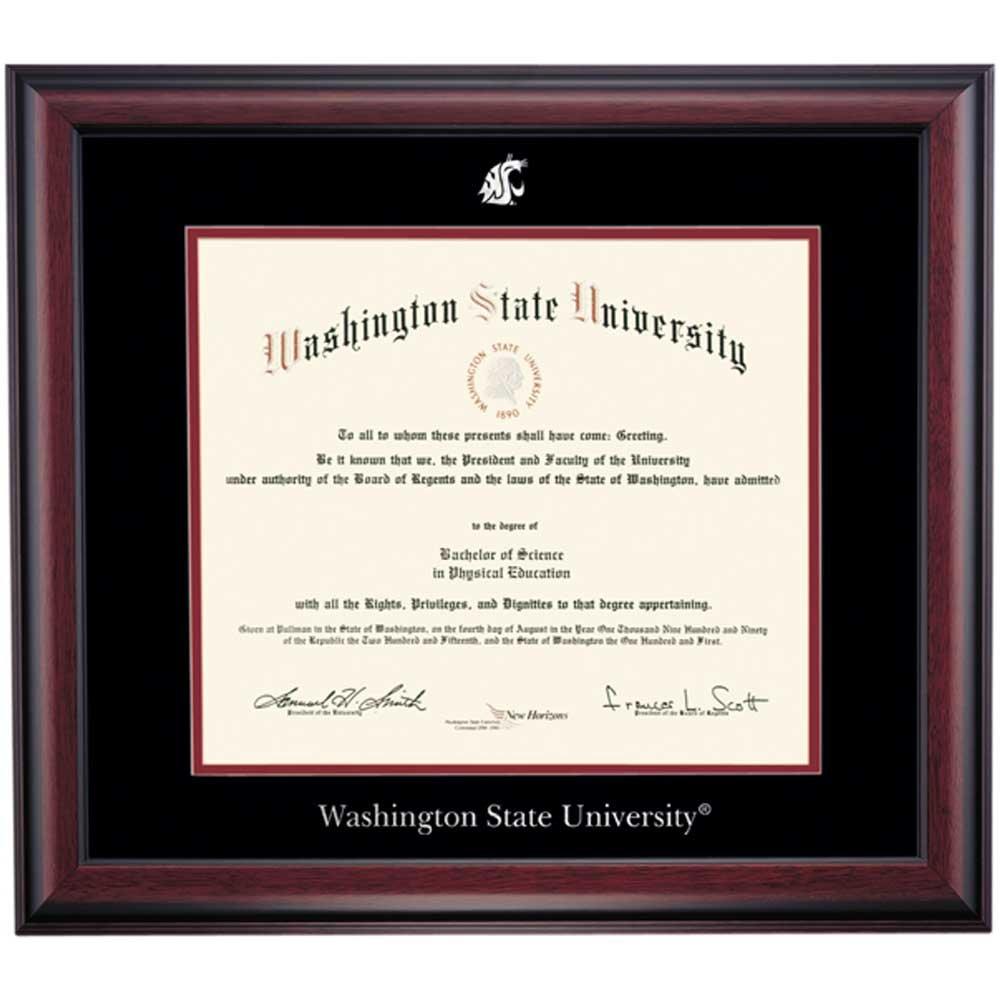 Campus Linens Washington State Cougars Diploma Frame Black Crimson Matting Embossed Seal