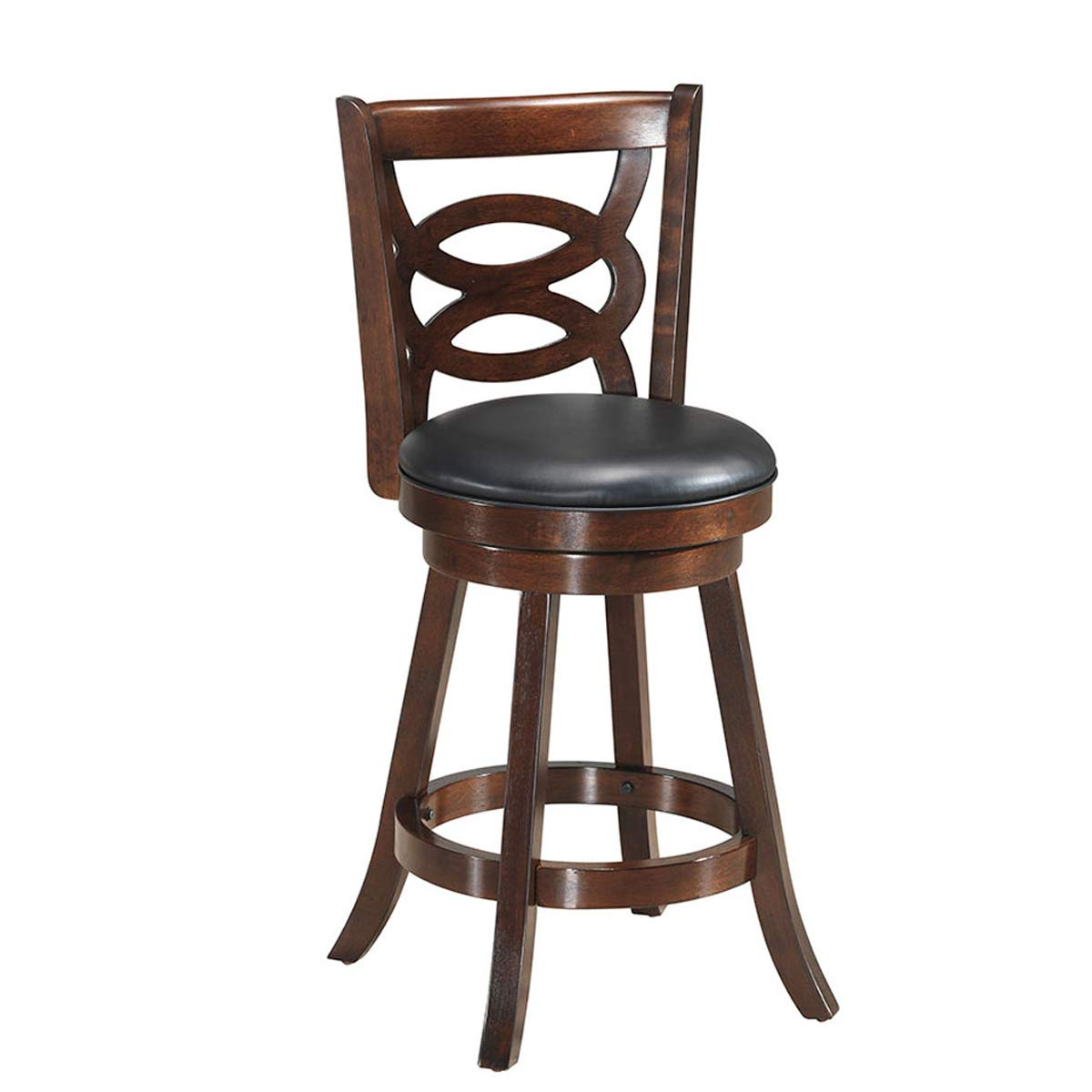 COSTWAY Vintage Bar Stools, Accent Wooden Back Swivel Dining Chair, Fabric Upholstered 360 Degree Swivel, PVC Cushioned Seat, Perfect for Dining and Living Room (Height 24'') by COSTWAY