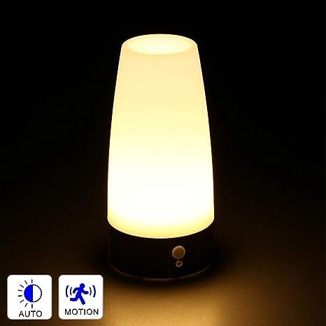 Dewanxin Luz nocturna de inducción inalámbrica, lámpara de mesa ...