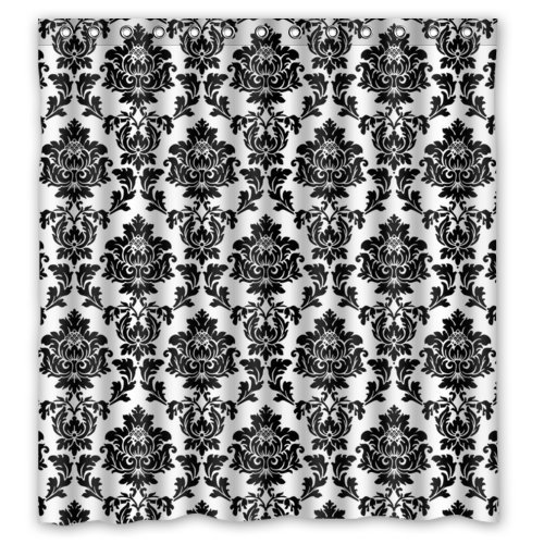 "Black and White Damask Shower Curtains,Polyester Fabric Waterproof,66"" x 72"""