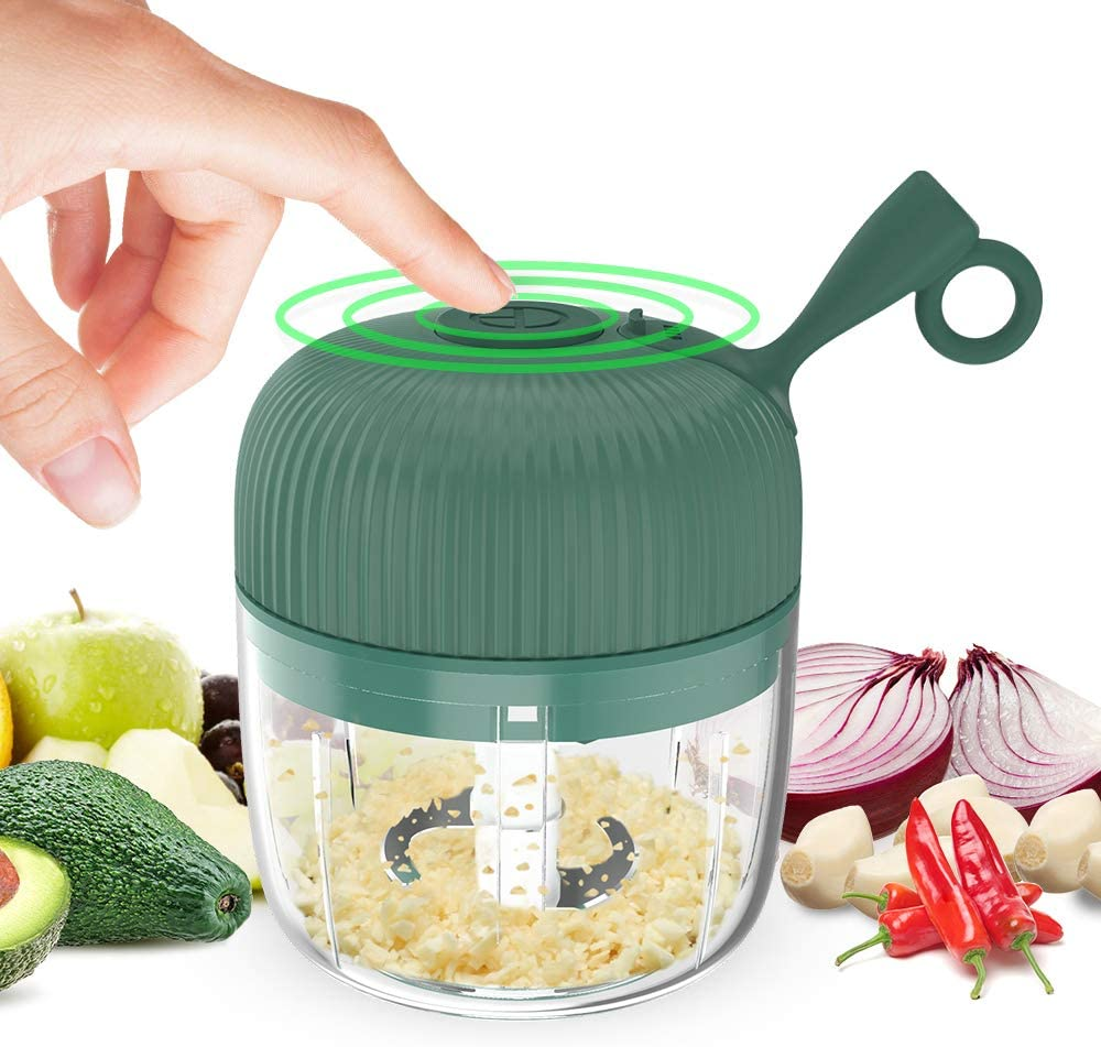 Eletric Seasoning Masher, KINGXBAR BPA Free Spice Chopper USB Charging Mini Portable Electric Garlic Grinder Food Press Cutter for Vegetables Fruits Nuts Pepper Onion