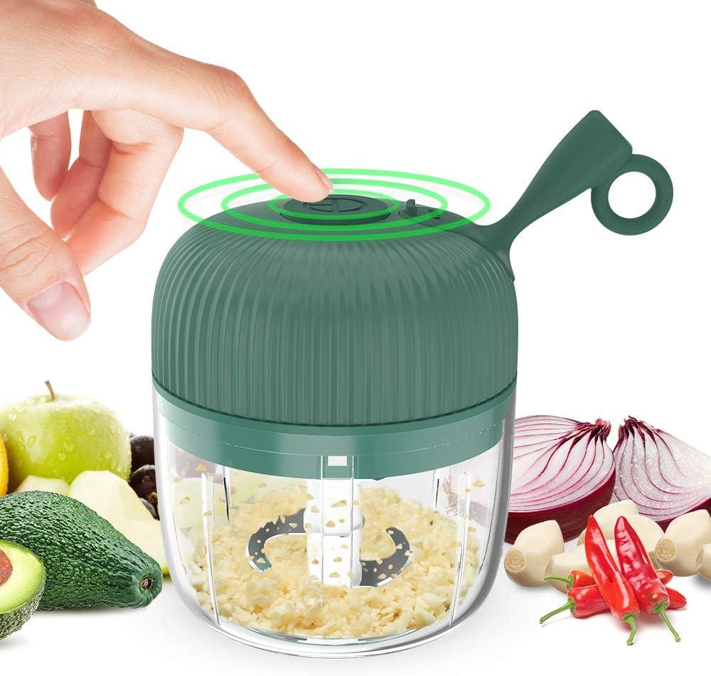 Eletric Seasoning Masher, KINGXBAR BPA Free Spice Chopper USB Charging Mini Portable Electric Garlic Grinder Food Press Cutter for Vegetables Fruits Nuts Pepper Onion