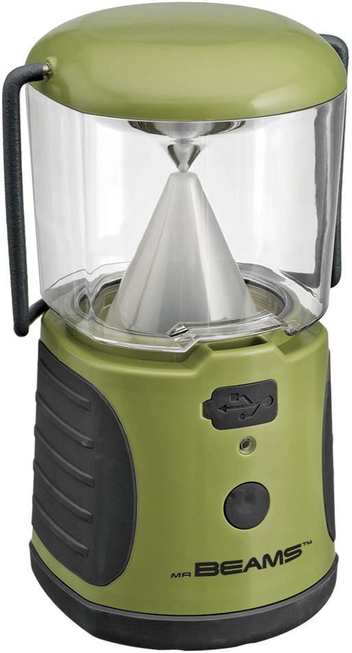 Mr. Beams MB470 UltraBright LED Camping Lantern with USB Charger for iPhone Camping, Hiking, Hurricanes, Emergencies, Outages Water resistant, Lightweight, Super bright, Removable top cover, Hook and handle Green