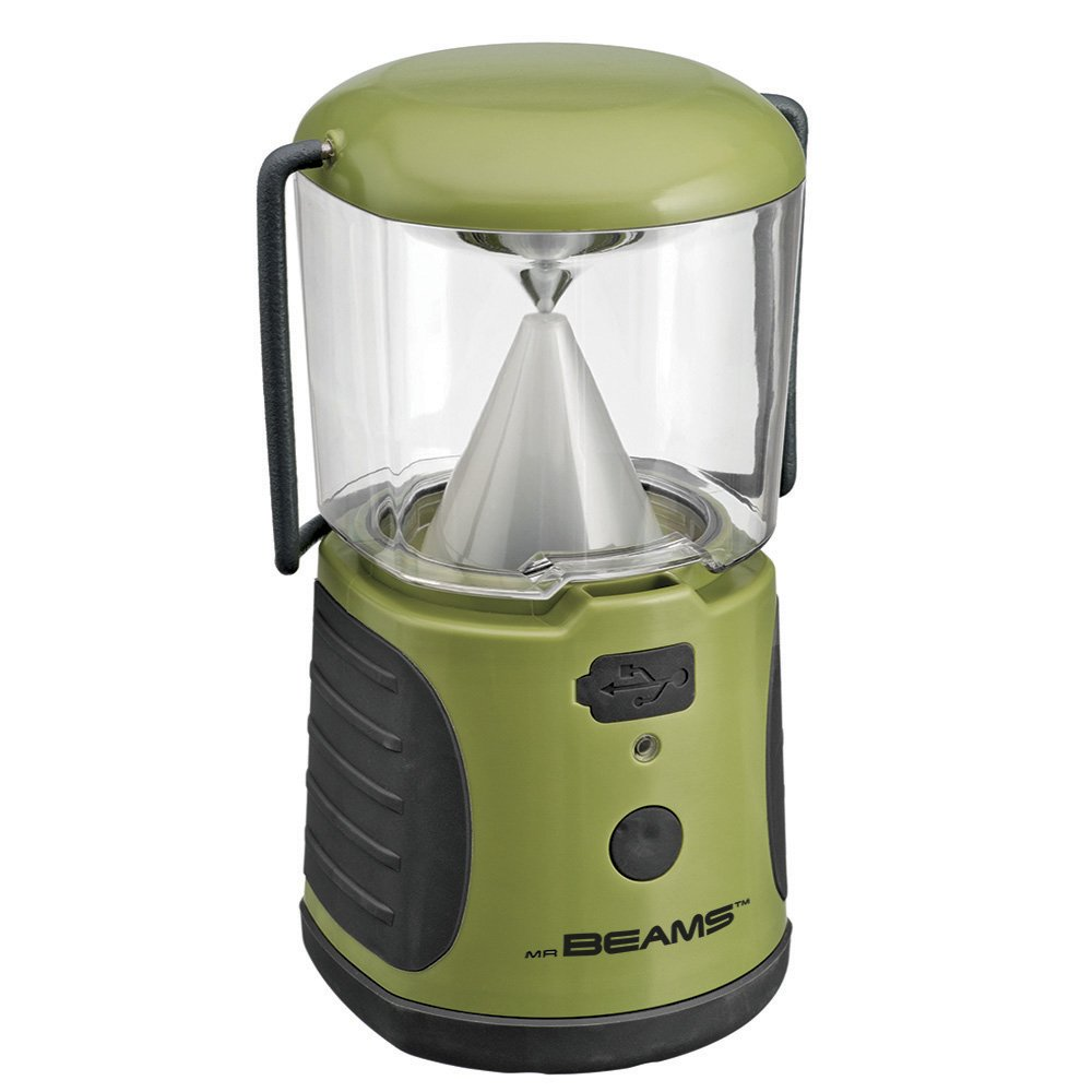 Mr. Beams MB470 UltraBright LED Camping Lantern with USB Charger for iPhone; Camping, Hiking, Hurricanes, Emergencies, Outages; Water resistant, Lightweight, Super bright, Removable top cover, Hook and handle – Green by Mr. Beams