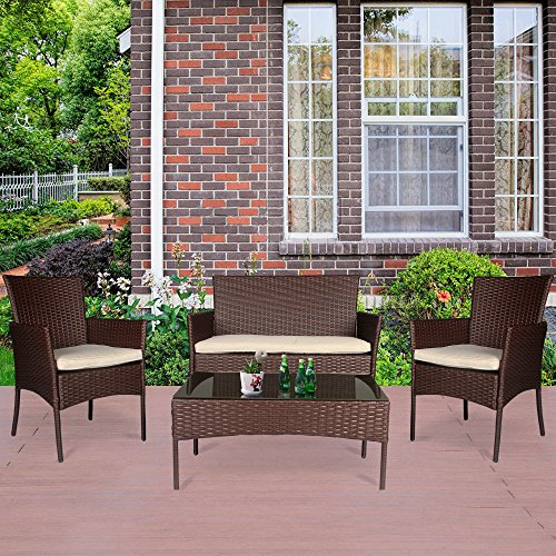Cloud Mountain 4 PC Patio Rattan Furniture Set Outdoor Conversation Set Sofa Cushioned Sofa Glass Top Table Outdoor Lawn Loveseat, Creamy White Cushions with Cocoa Brown Rattan by Cloud Mountain