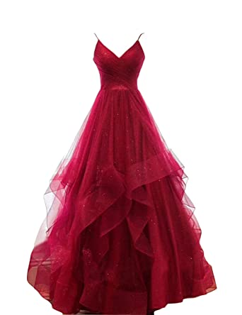 347b44d5c OYILAN Women's Long V-Neck Tiered Tulle Prom Party Dress with Glitter  Burgundy 2