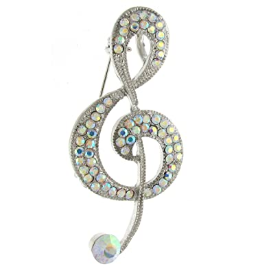 Brooches Store Silver & Crystal Music Note Treble Clef Brooch ekmvJ