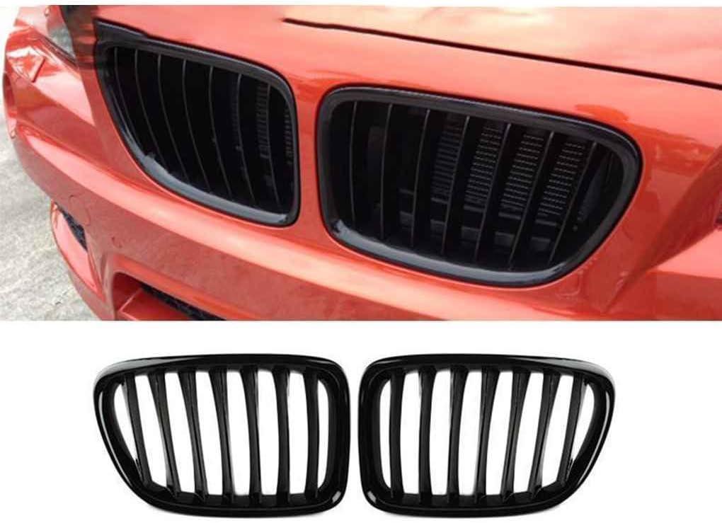 Bomcomi Griglie Auto Rene Anteriore Griglie in plastica ABS Anteriore Griglie Gloss BMW X1 Nera per BMW X1 E84 2010-2015