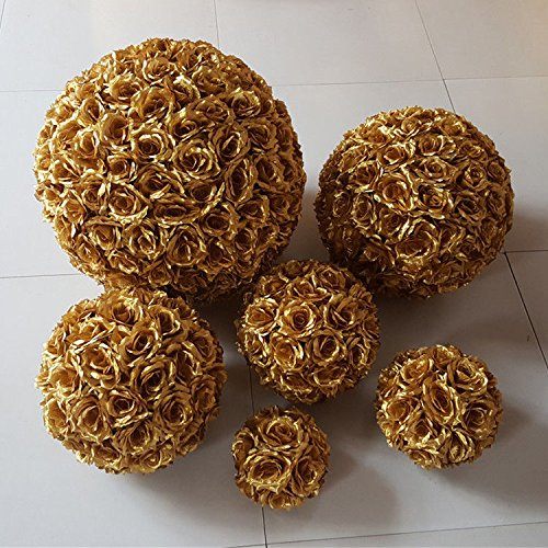 5 PCS HOT SELL Colorful High Quality, 15~40CM Rose Pomander Flower Kissing Ball Color:Gold Size:Diameter:20cm (Sell Wedding Decorations)