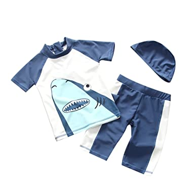 4a604f92ee Collager Toddler Boys Two Piece Cute Shark Swimsuit Kids UV Sun Protective  Short Sleeve Bathing Suit