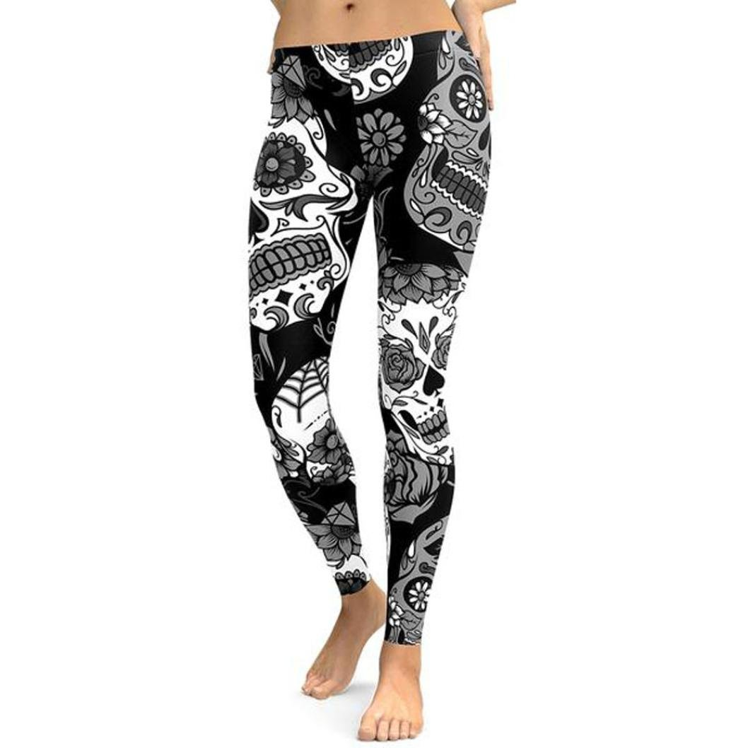 DMZing Women\'s Fashion Skull Printed High Waist Yoga Pants Gym Workout Running Leggings Elastic Fitness Tigthts Full-Length